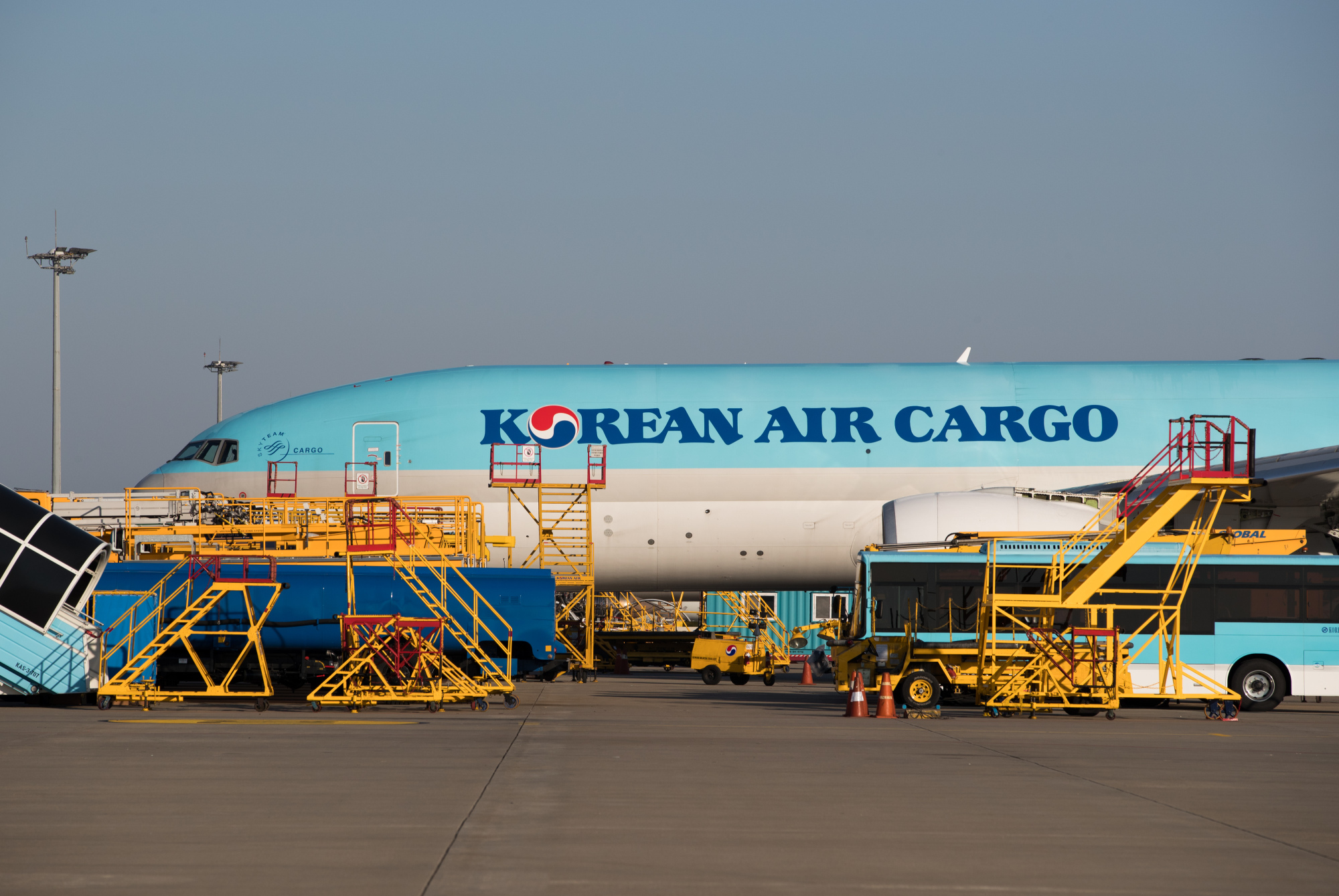 A Korean Air Lines Co. cargo plane stands on the tarmac at Incheon International Airport in Incheon, South Korea