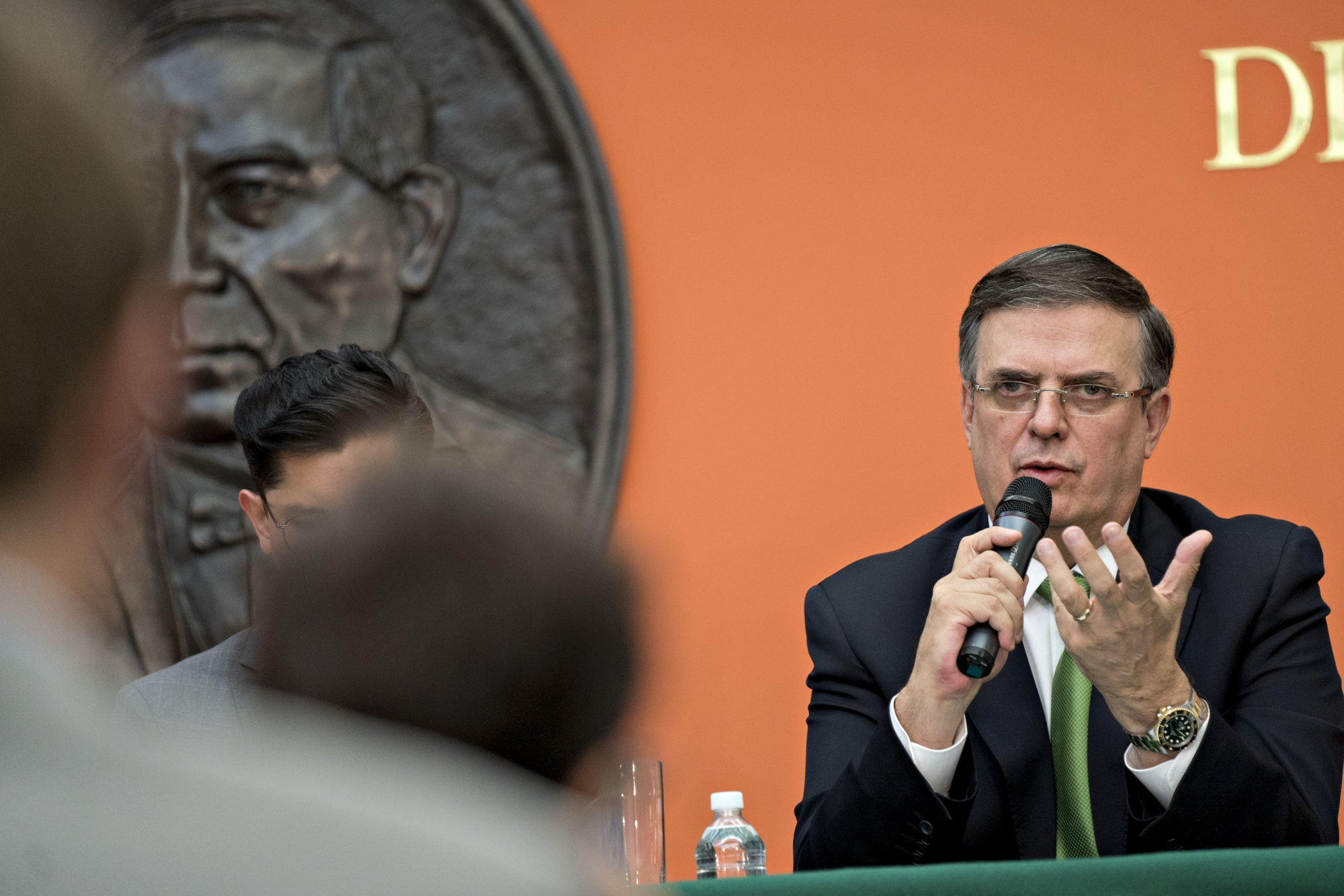 Marcelo Ebrard speaks during a news conference on June 4, 2019.
