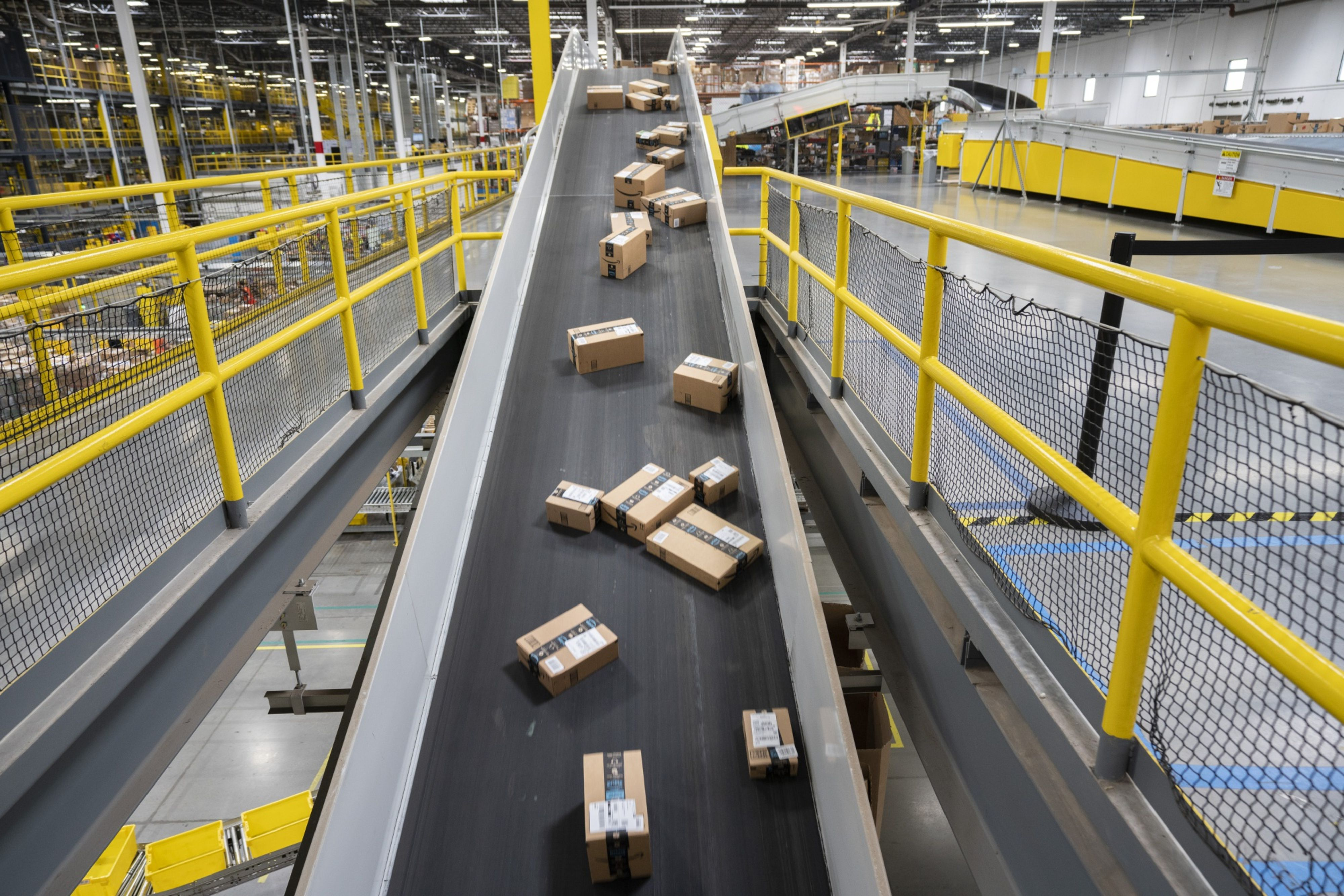 Packages are getting ready to head onto trucks atAmazon's Baltimore robotics fulfillment center.