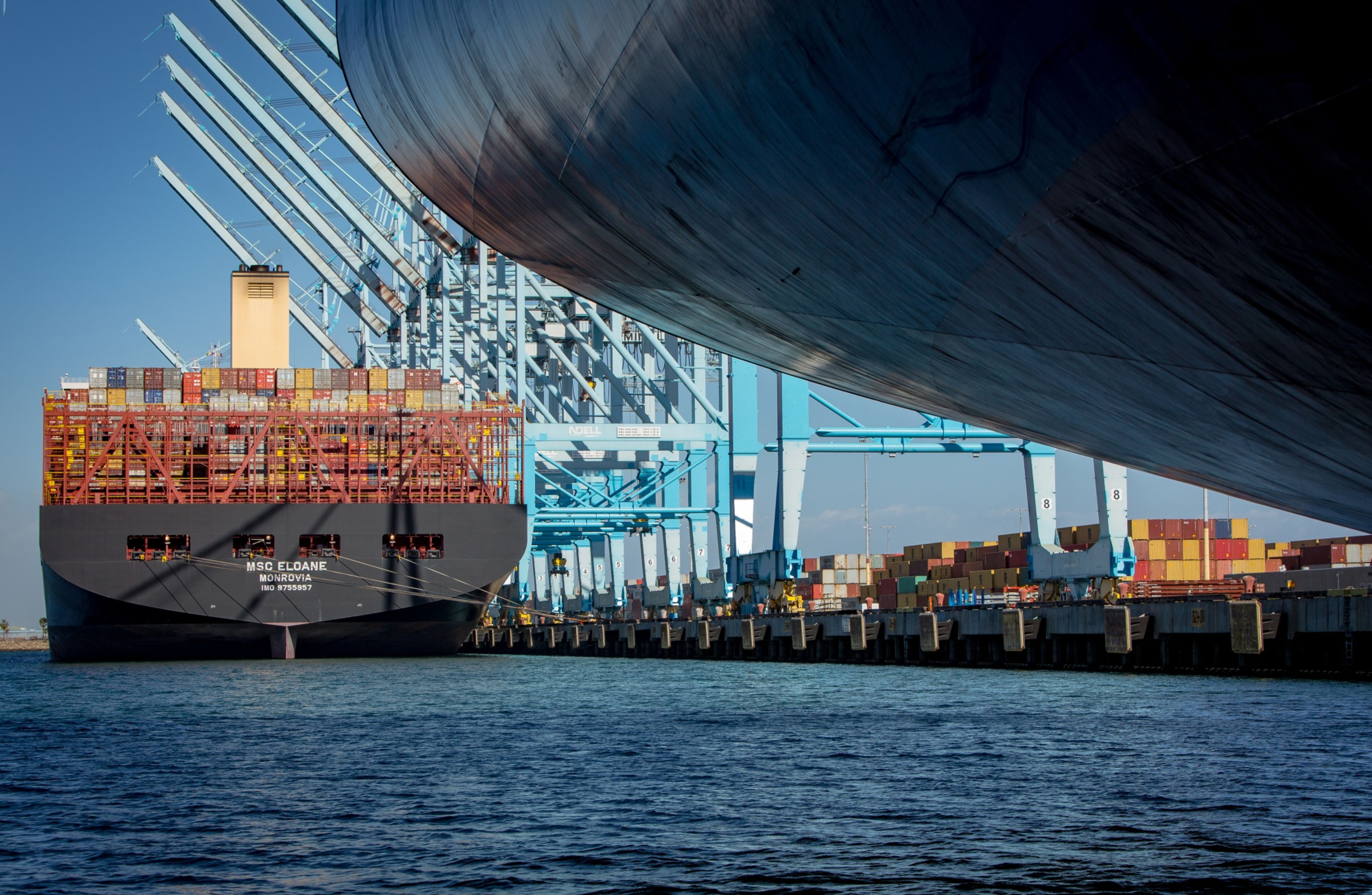 The largest container ship to ever call in the United States, the Mediterranean Shipping Company's Eloane makes berth at the Port of Los Angeles.