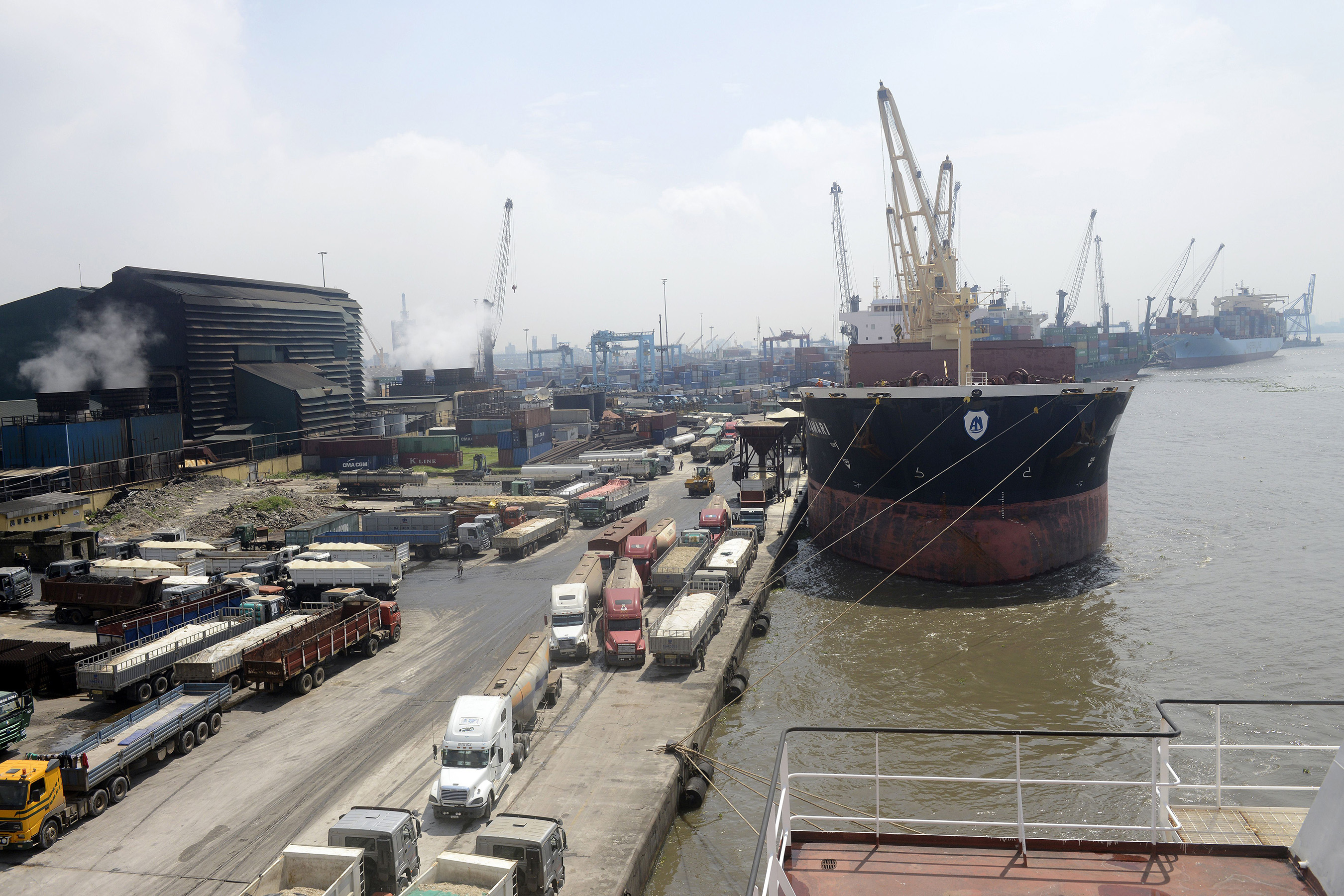 Cargo ships are docked at the Apapa Sea Port in Lagos.
