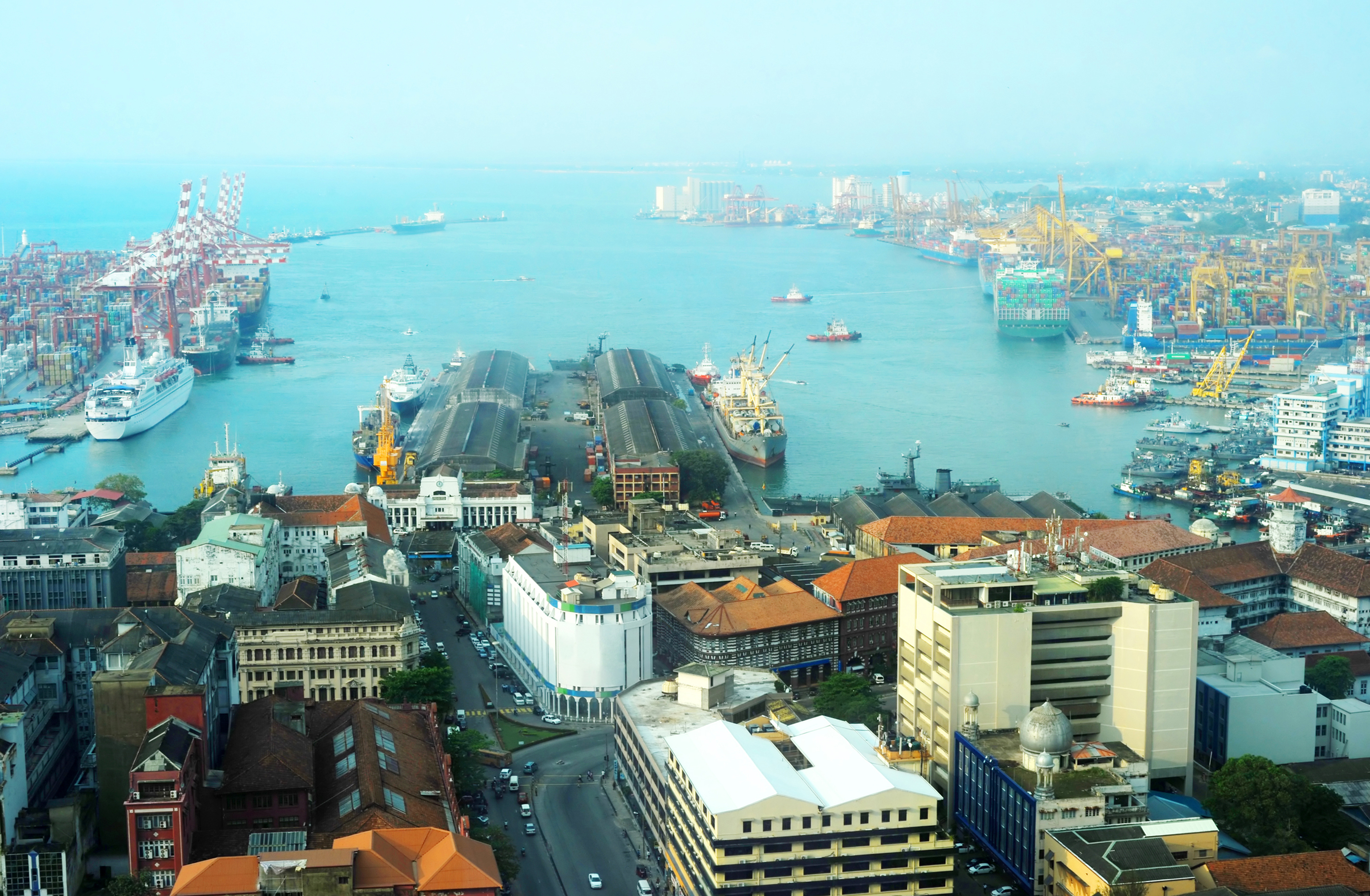 View on Colombo harbor from WTC Colombo, Sri Lanka