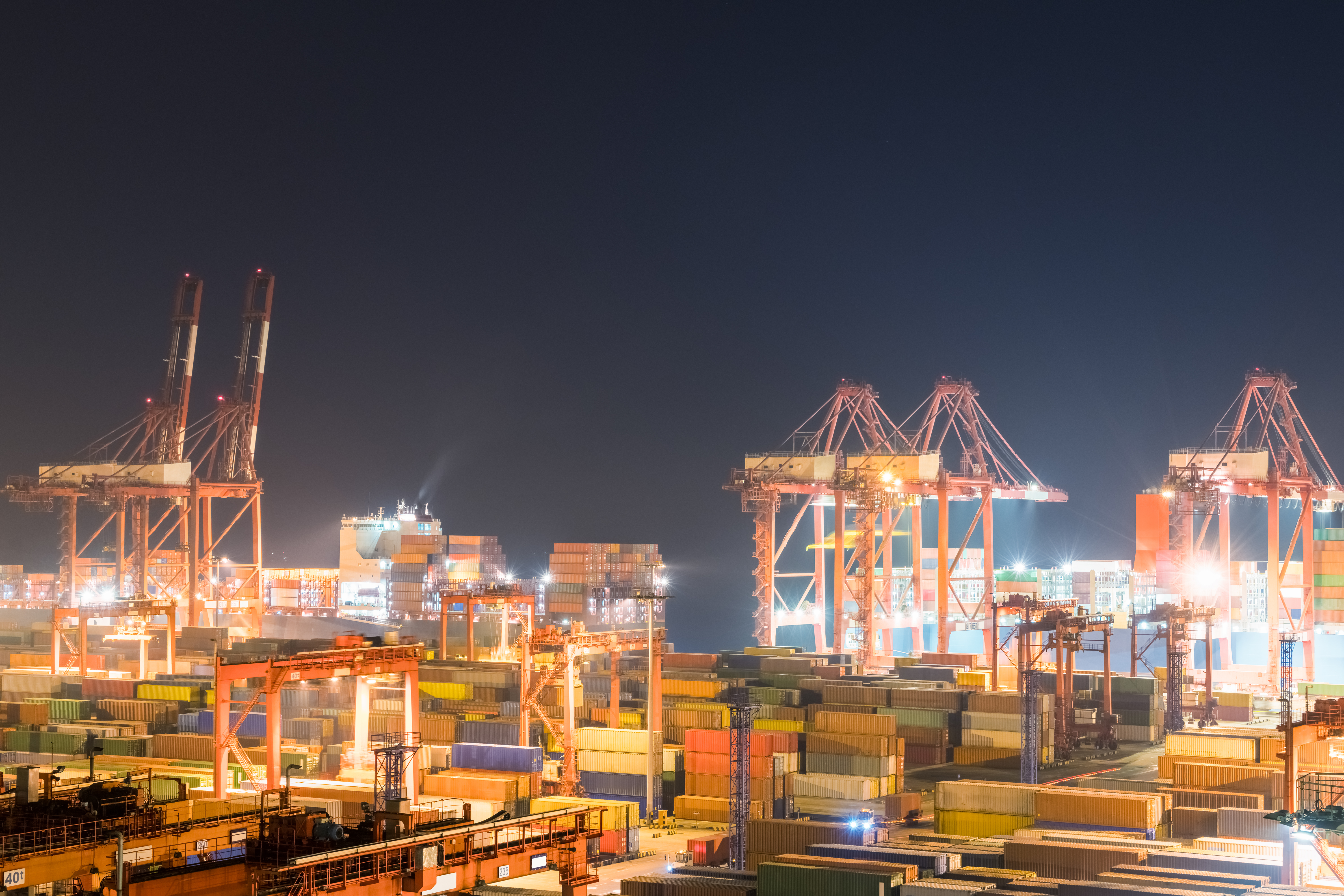 Shipping port in Shanghai at night