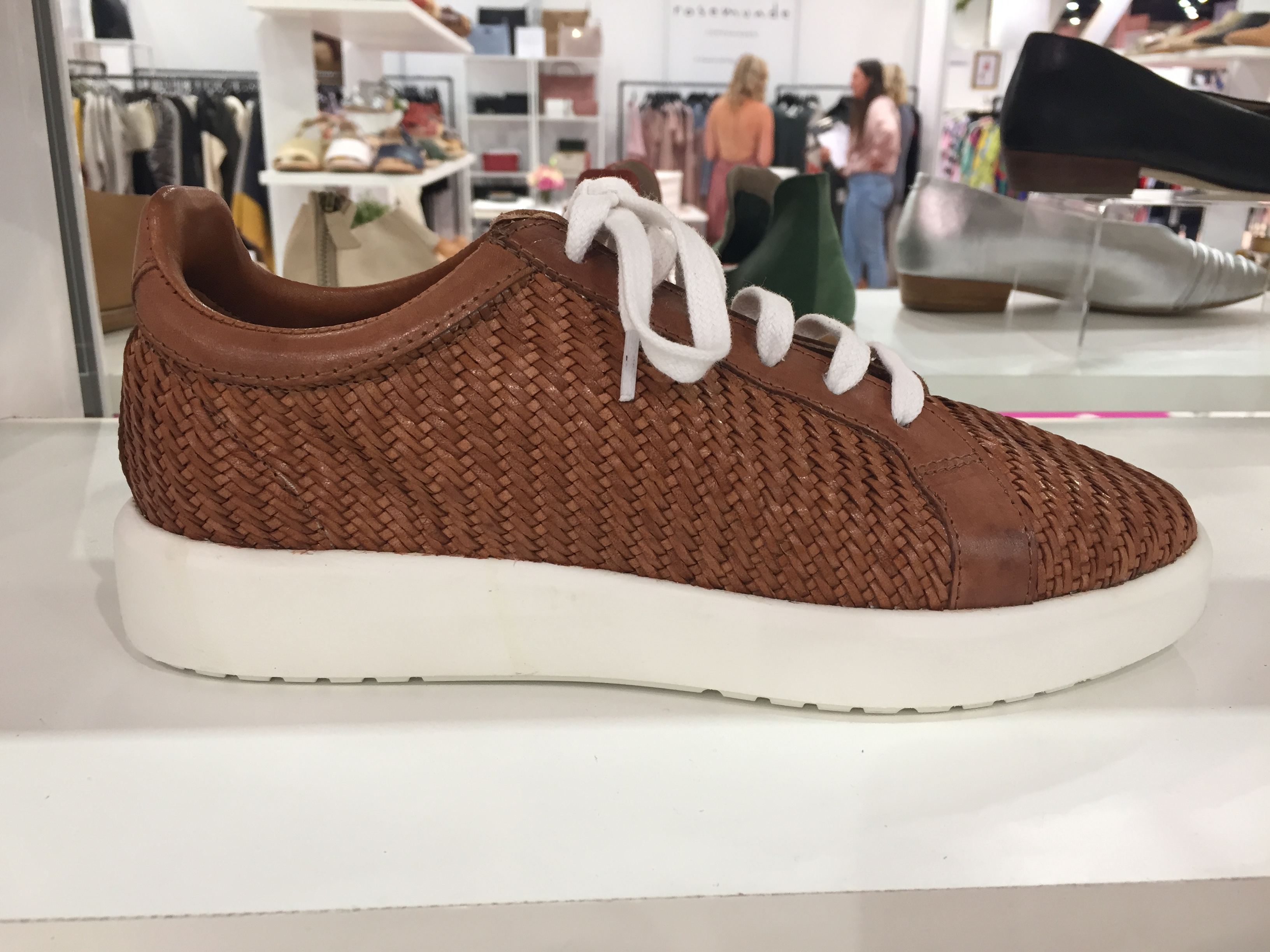 A woven leather lace-up style from Allan K.