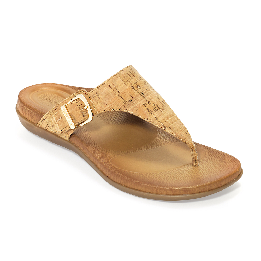 Fully-adjustable thong sandal with a built-in Aetrex orthotic.