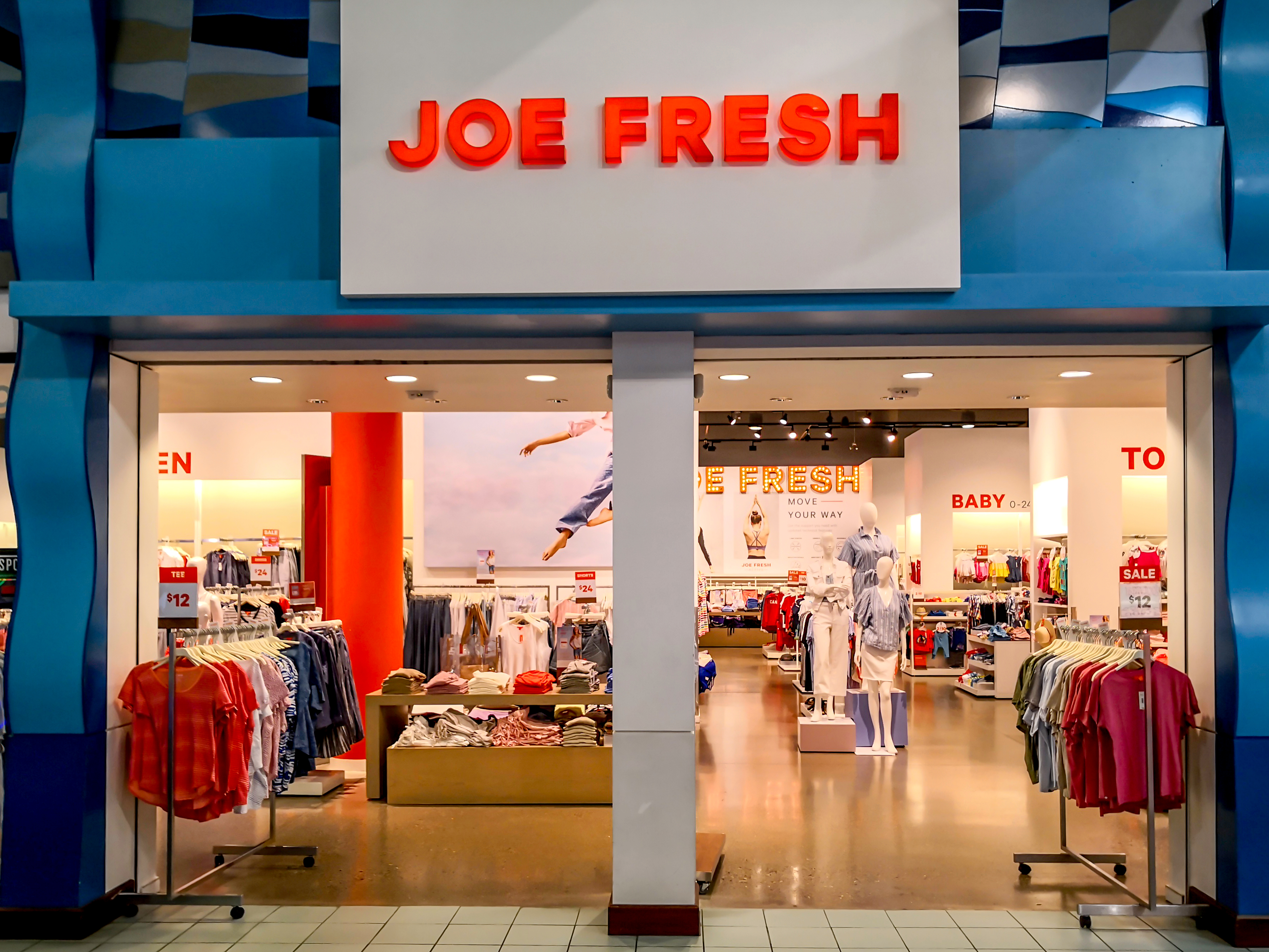 Joe Fresh store front at Vaughan Mills mall near Toronto. Joe Fresh is a fashion brand and retail chain for Canadian food distributor Loblaw Companies