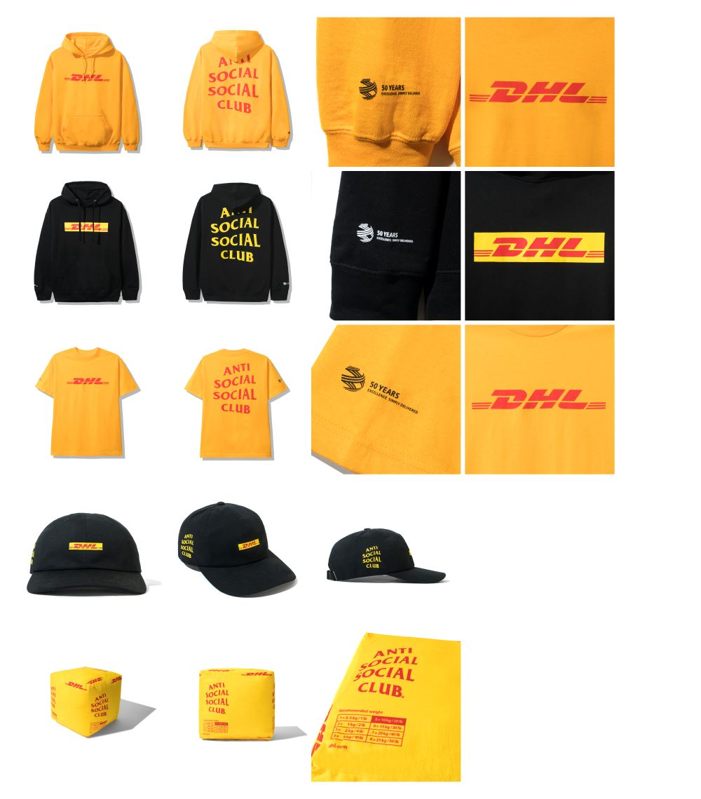 Global supply chain giant DHL tapped Anti Social Social Club for a streetwear capsule in its signature red and yellow colors.