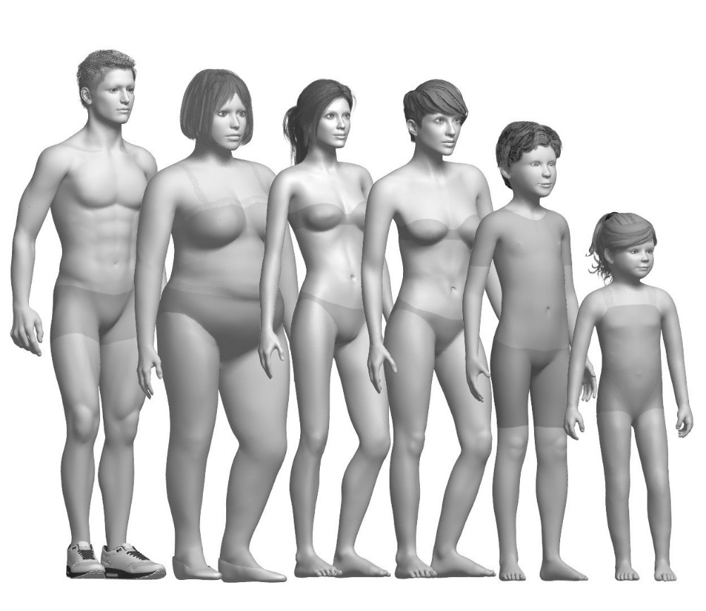 Tukatech's library of digital fit models are based on real human proportions.