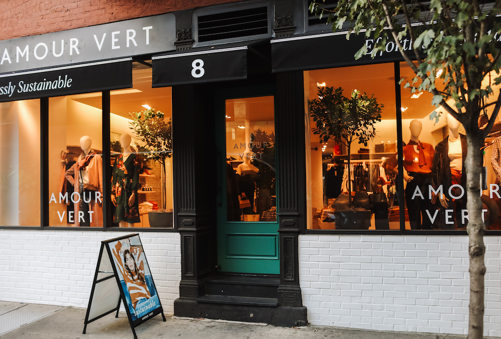 Sustainable fashion brand Amour Vert, which manufactures in California, celebrates its first brick-and-mortar location in New York City.
