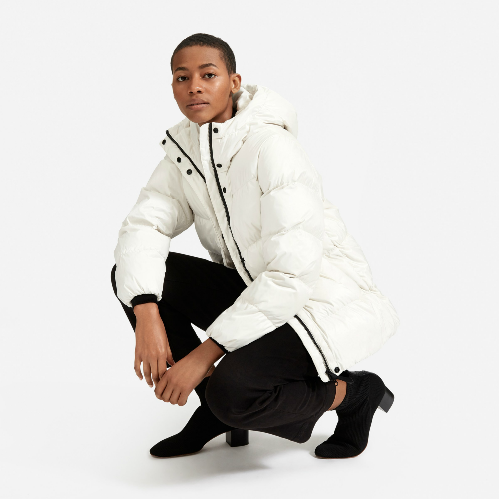"Everlane has launched a new line of puffer jackets that promises to be ""heavy on warmth, light as a feather and totally recycled."""