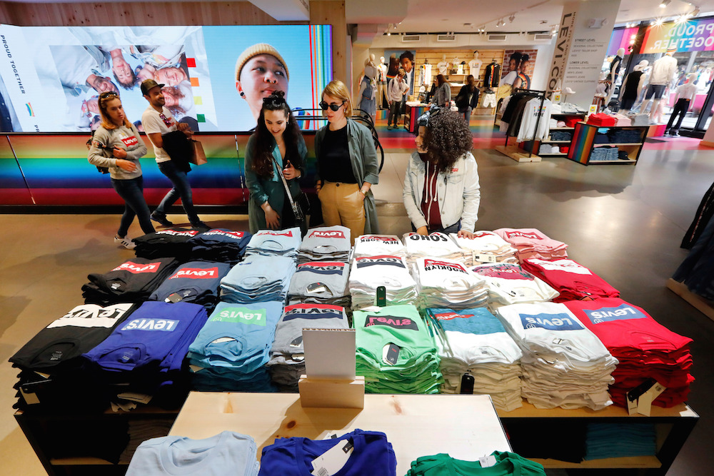 """Levi's store in New York's Times Square. Levi's Chip Bergh said strategies to diversify to """"faster-growing, high opportunity, high gross margin businesses"""" helped drive Q3 results."""