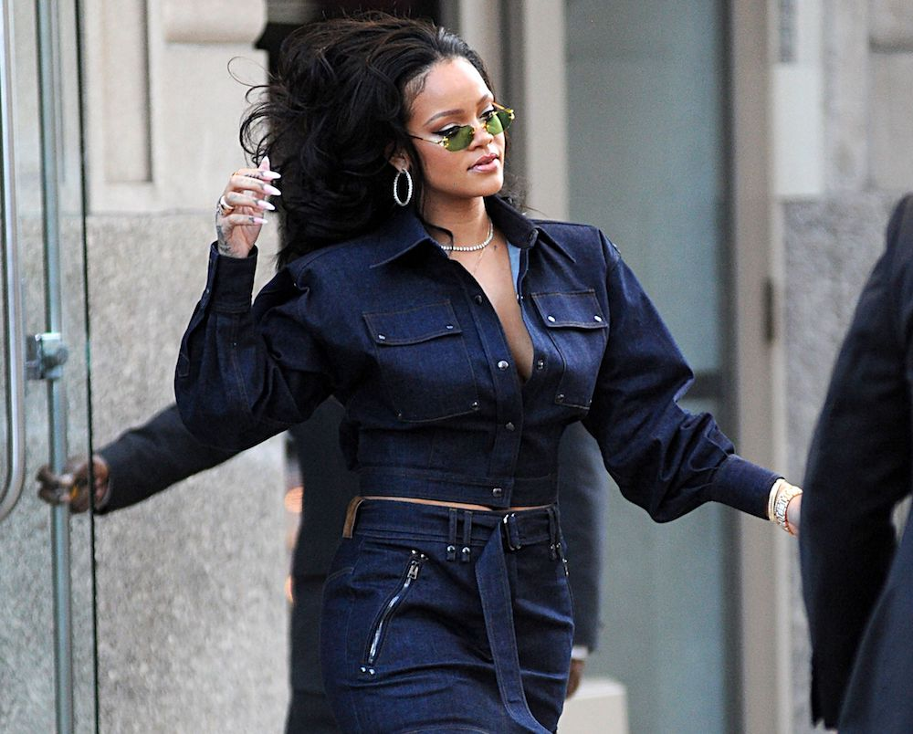Rihanna. From denim sunglasses to a denim gown, the fabric's range is anything but boring.