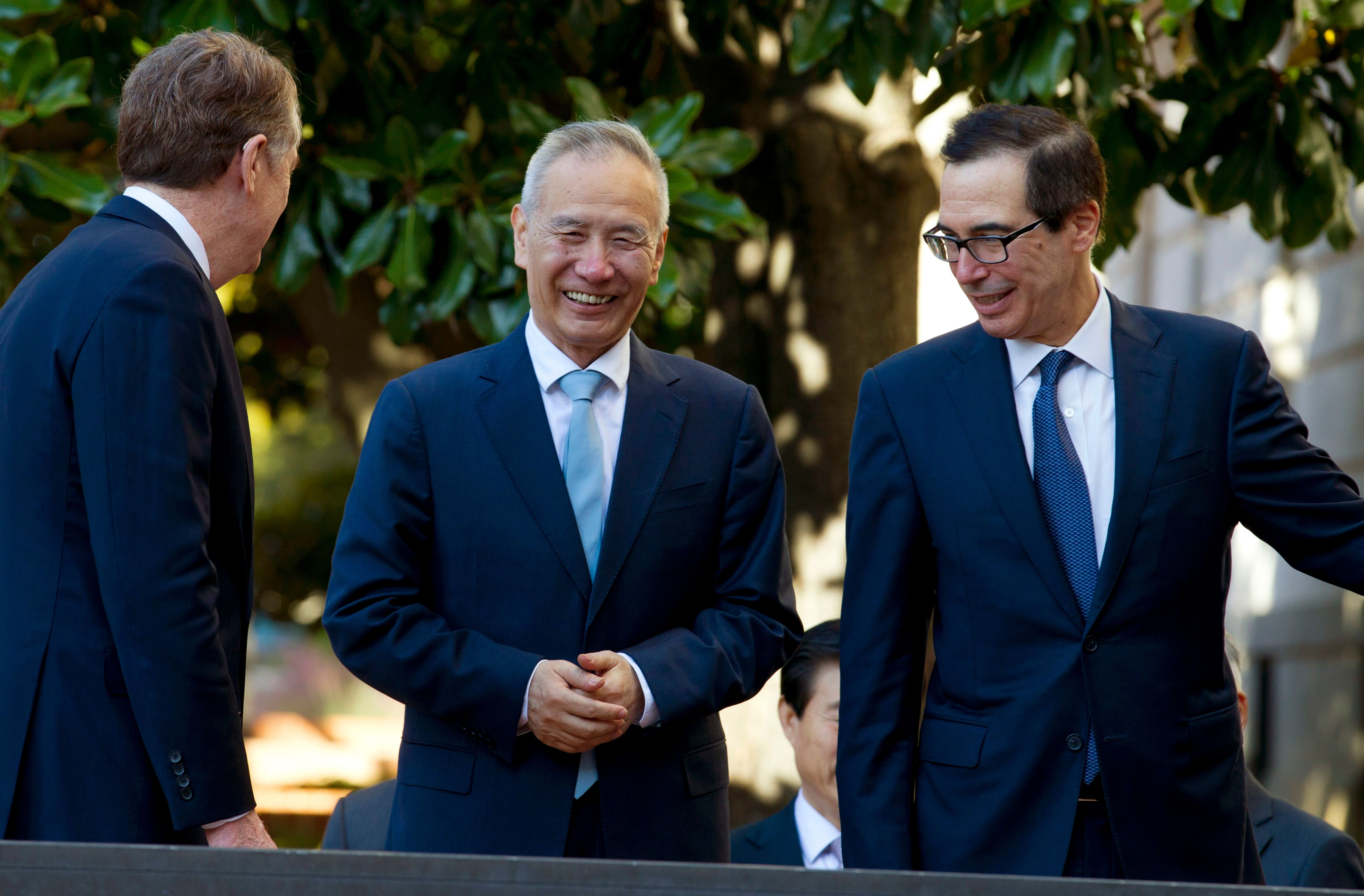 Liu, Lighthizer, Mnuchin meet on trade war Oct 11. Amid ongoing phase-one trade deal negotiations between the U.S. and China, Xi Jinping outlined plans to open China's market to more trade.