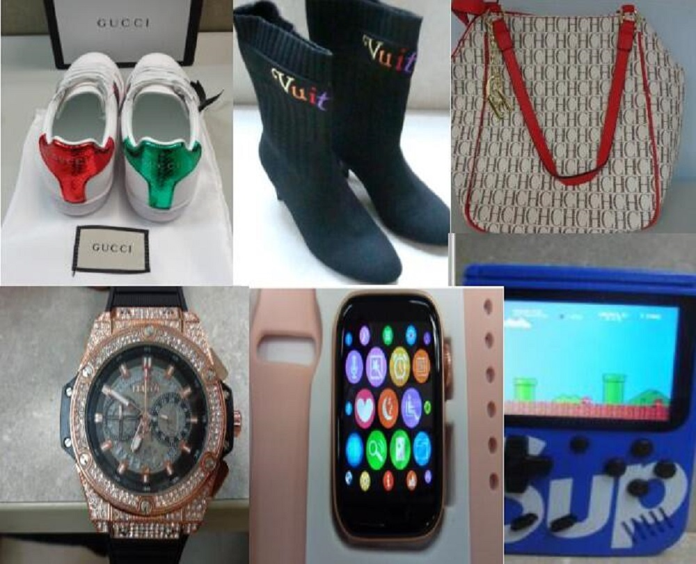 CBP seized 289 shipments of counterfeit items copying Gucci, Nike, Louis Vuitton and more imported into Puerto Rico via mail or courier.