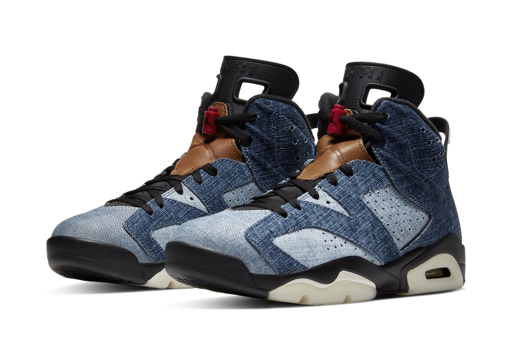 Nike dropped the Air Jordan 6 Washed Denim, a denim sneaker that resembles a worn pair of light and dark wash jeans.