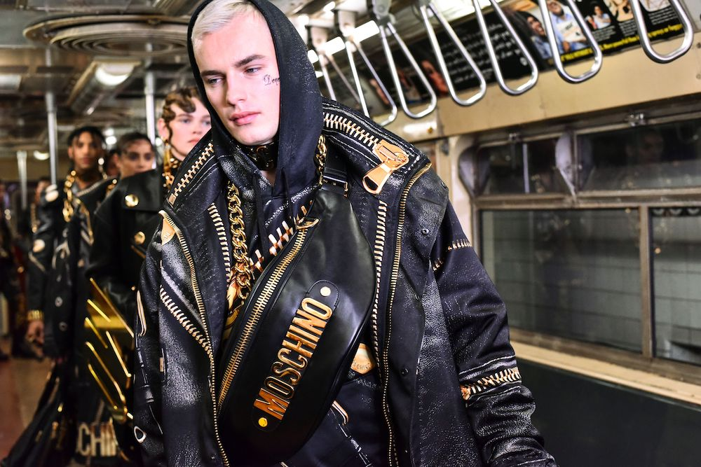 Moschino took over the New York City Transit Museum Monday night with a Pre-Fall 2020 show that celebrated the city's many quirks.