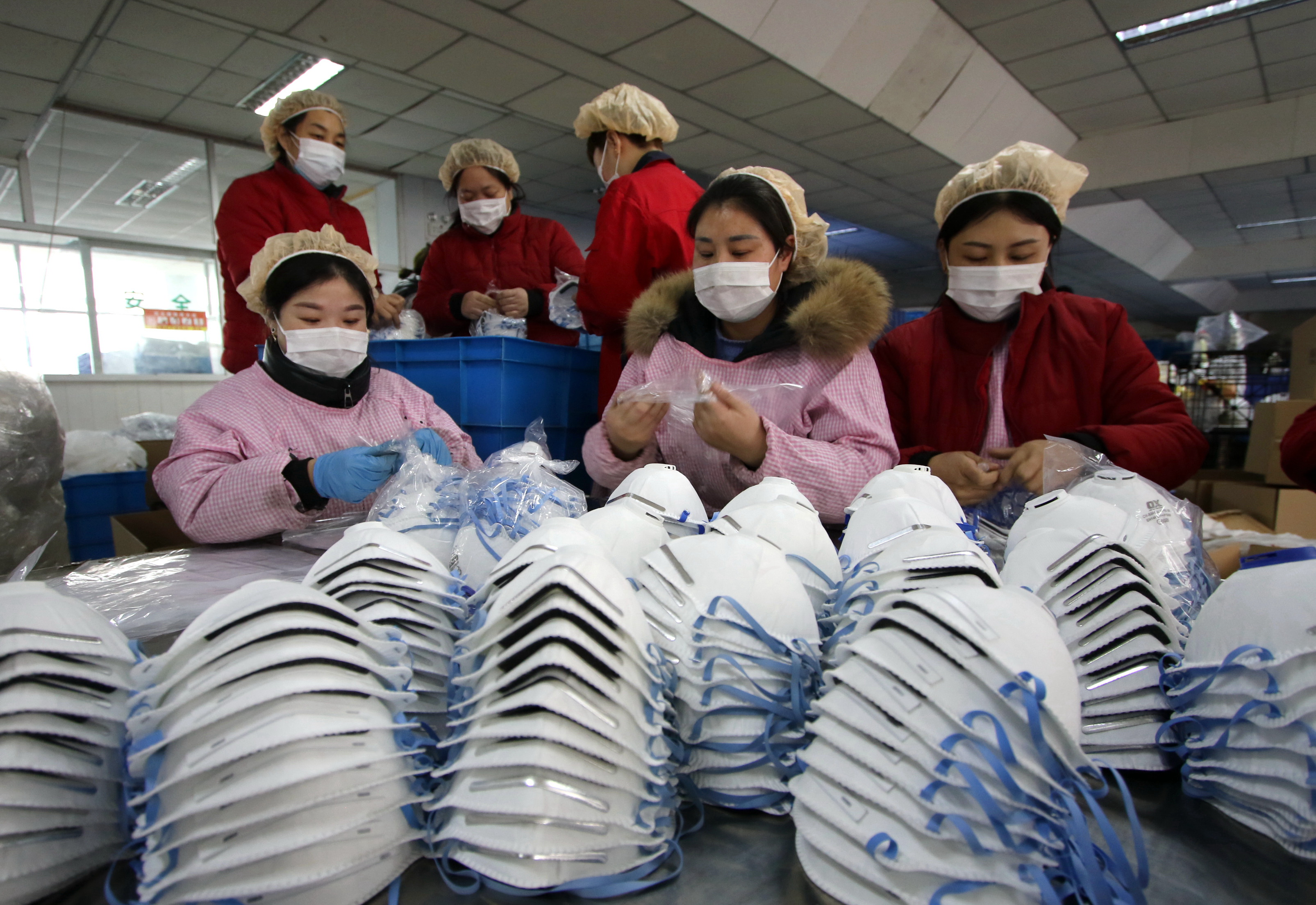 Factories step up production of face masks amid coronavirus outbreak in China, Handan.