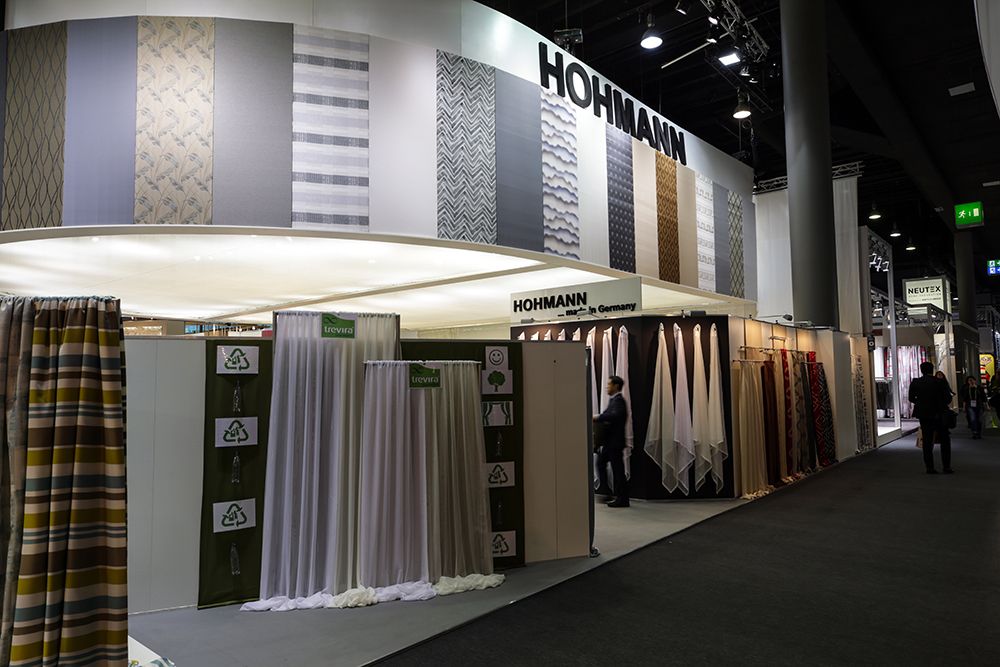 Products of the German company Hohmann on display during Heimtextil in 2018