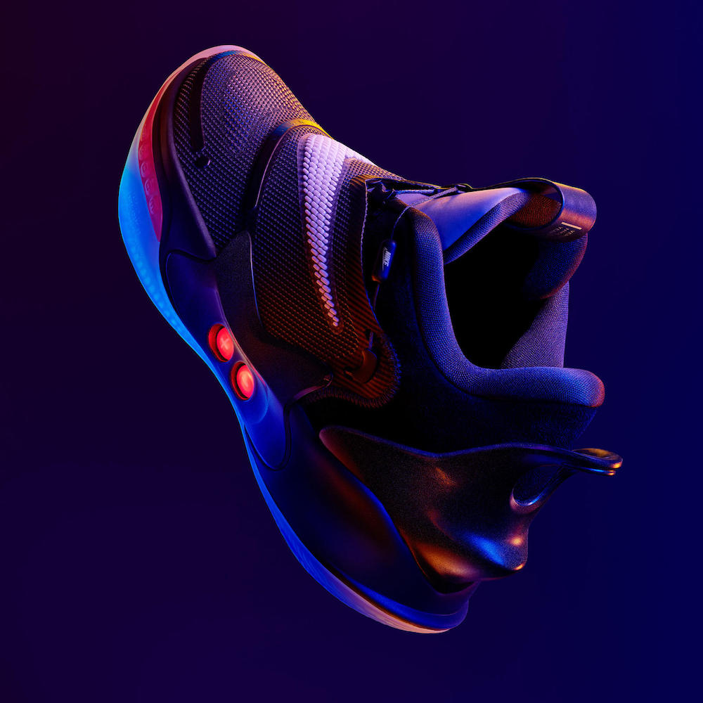 Nike released an updated version of its Adapt BB self-lacing smart sneaker along with Airmax footwear featuring adaptive technology.
