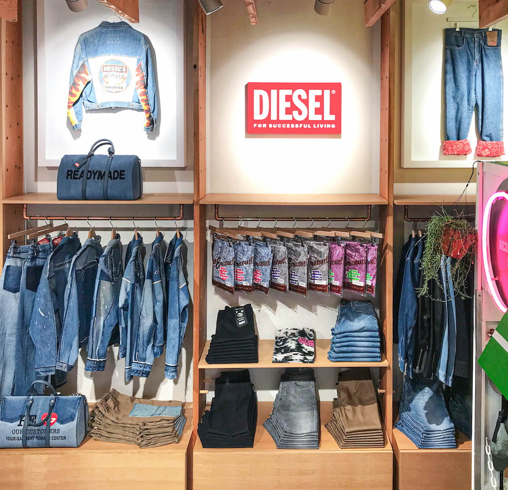 Diesel Red Tag x Readymade and Diesel Red Tag x A-Cold-Wall are among the denim Diesel items to be sold at Fred Segal Sunset Boulevard.