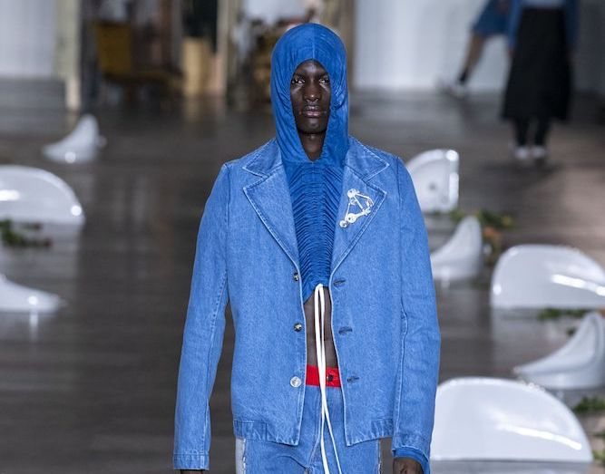 Per Gotesson at London Fashion Week: Men's. Designers at London Fashion Week: Men's enhanced their collections with sustainable materials, durable denim and brazen splashes of color.