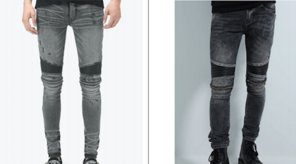 Atelier Luxury Group, owner of AMIRI, sued Zara over similarities between AMIRI's MX2 jeans and Zara's Combination Skinny Biker jeans.