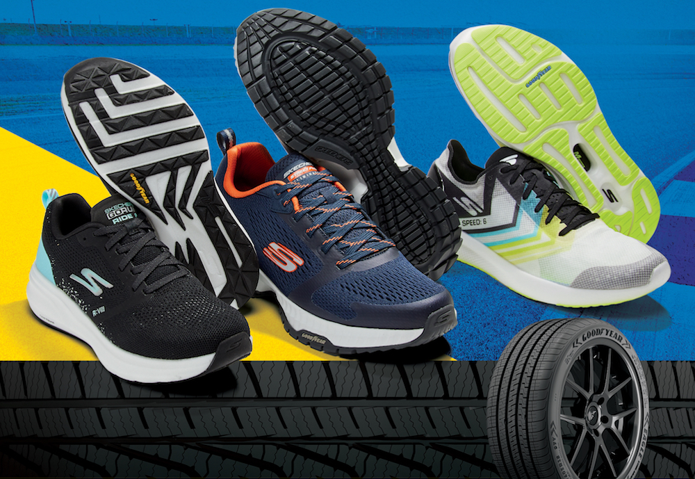 Skechers and Goodyear are expanding their previous collaboration to include a whole line of performance footwear options fitted with Goodyear rubber.