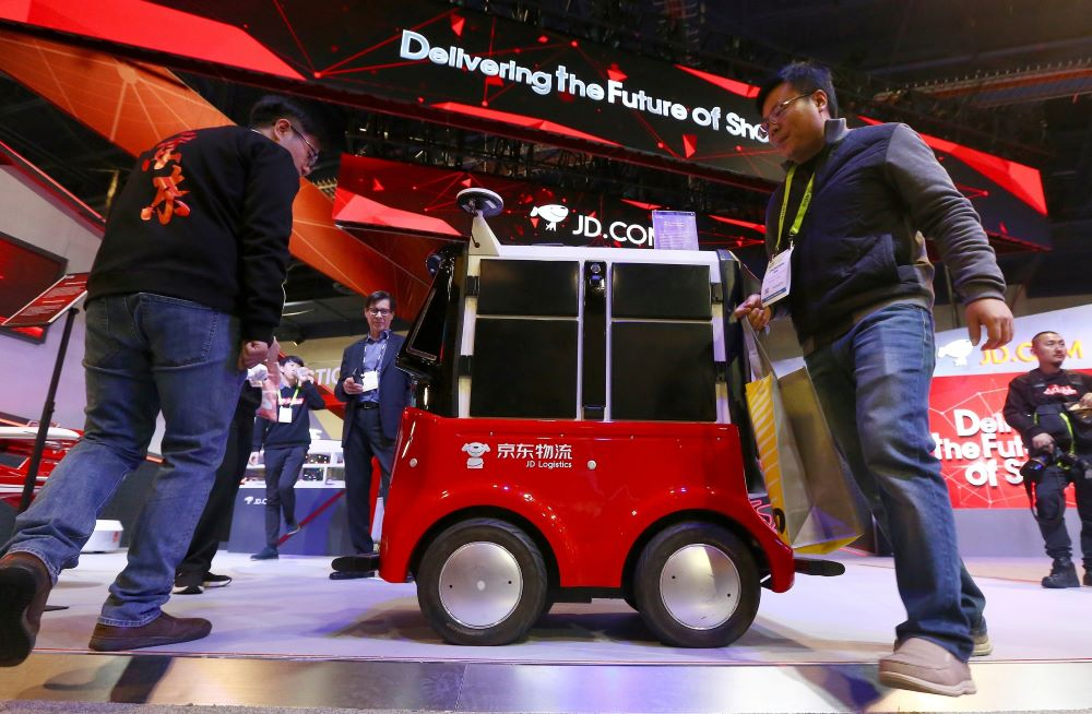 In virus-stricken Wuhan, JD.com shoppers are having orders delivered by autonomous robots that eliminate interaction with humans couriers.
