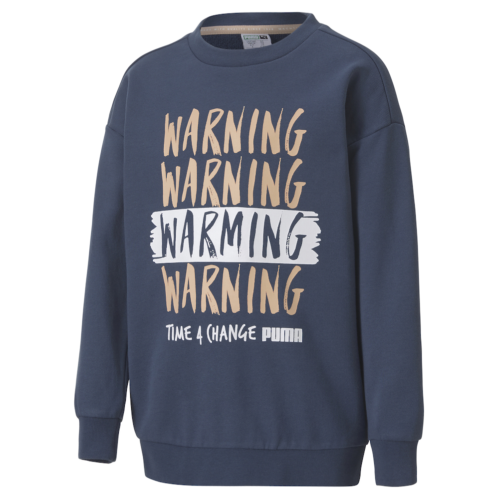 Puma's Time4Change kids' collection of apparel and footwear features organic cotton and features slogans raising climate change awareness.