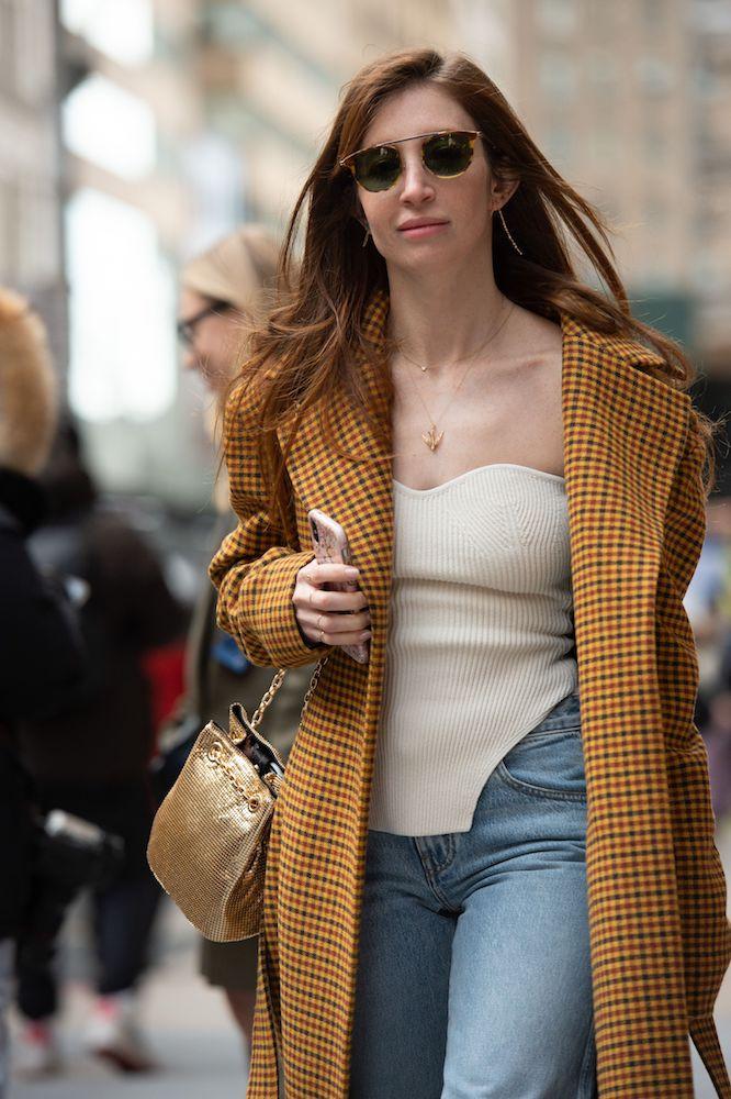 Classic indigo denim dominated New York Fashion Week street style.