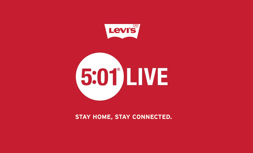 Every day at 5:01, Levi's will stream live performances on Instagram Live to support the arts and COVID-19 relief efforts.
