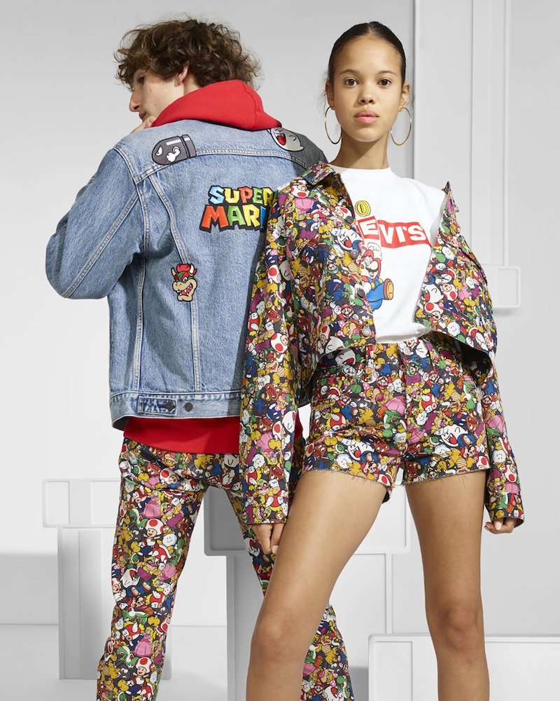Levi's teased a collaboration with Nintendo featuring Super Mario-themed denim and hoodies set to launch on April 1.