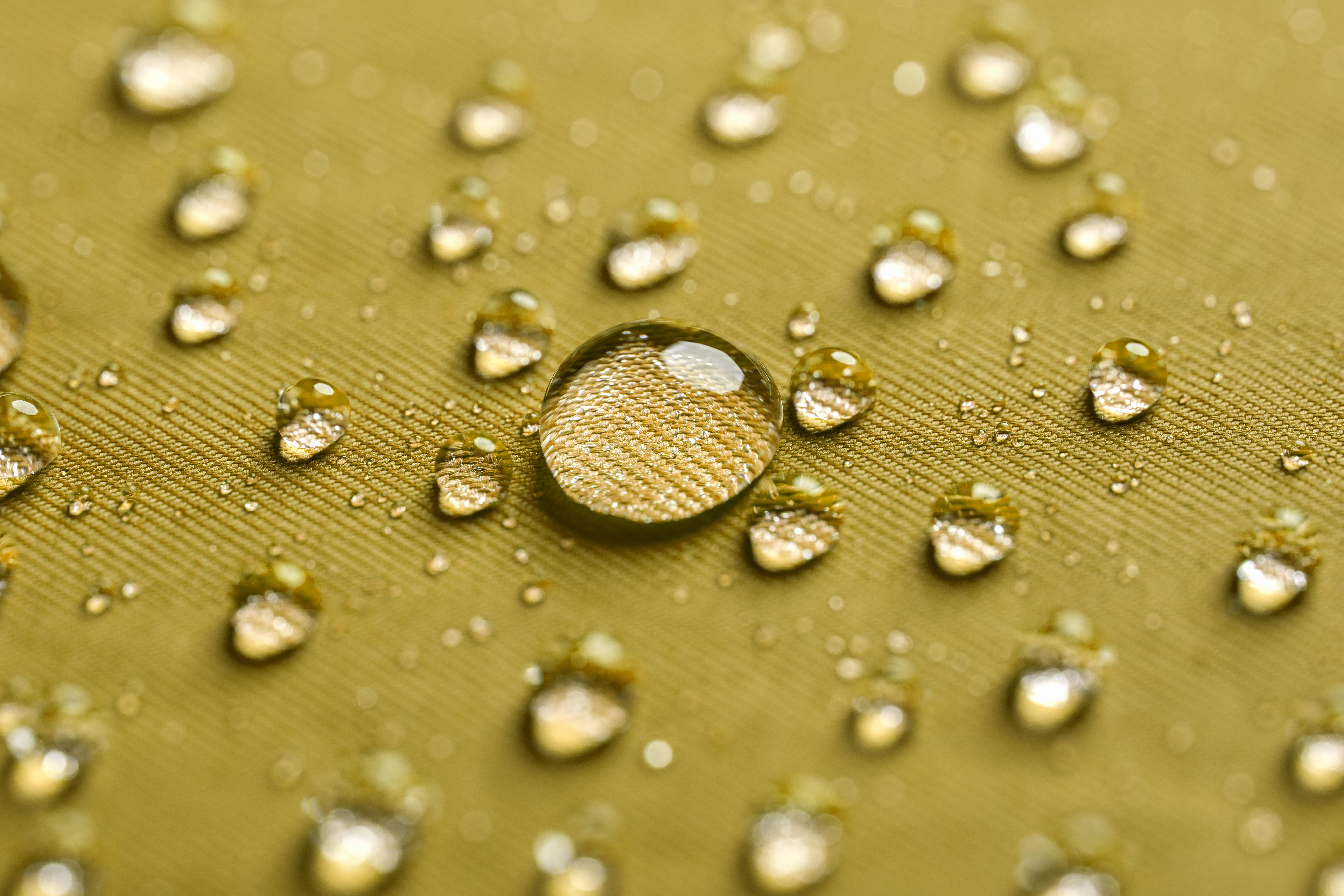 Water drops on a waterproof fabric