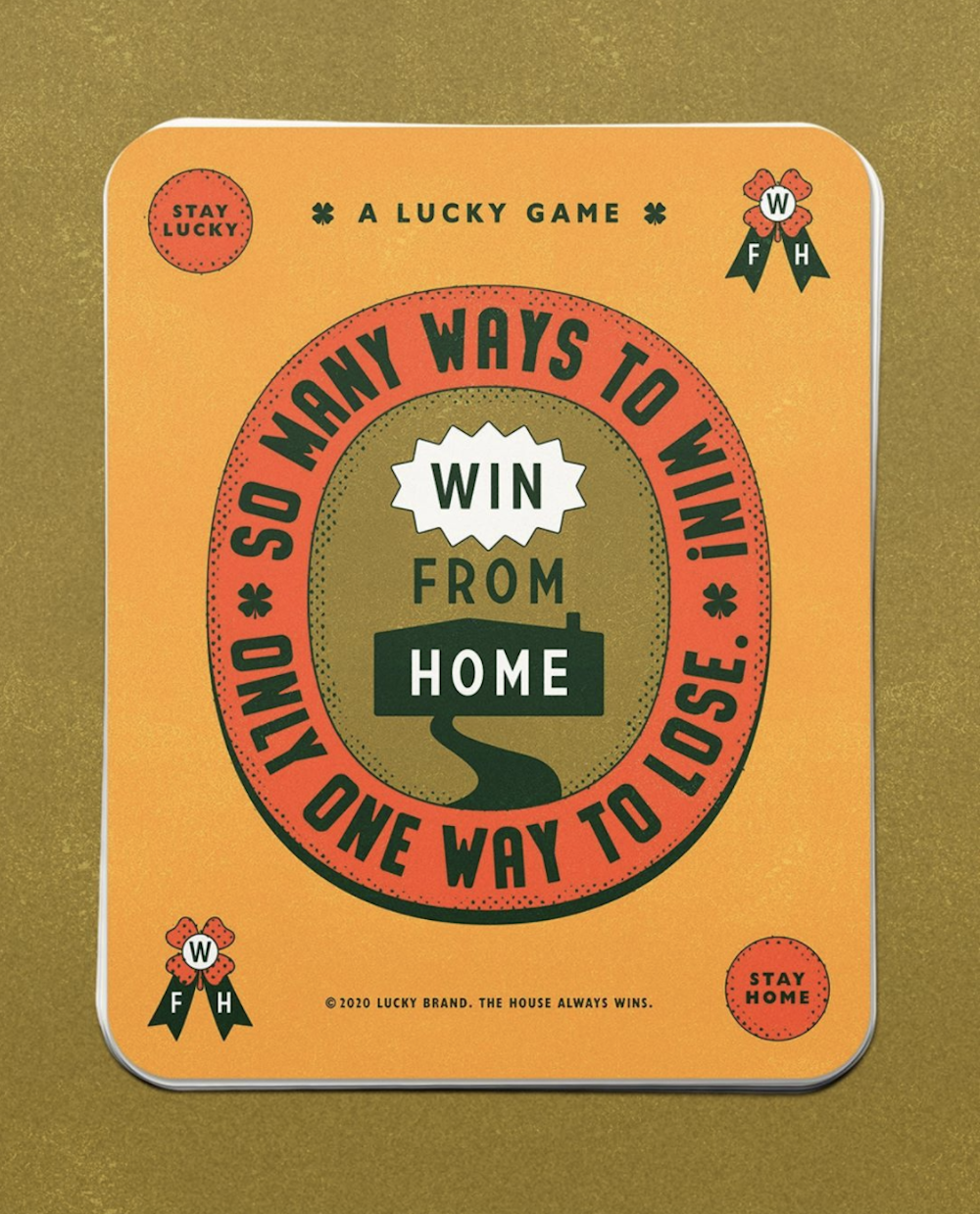 "Lucky Brand's ""Win From Home"" campaign presents daily quarantine-themed challenges with prizes that benefit users and essential workers."