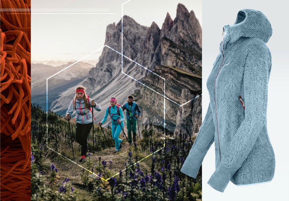 Polartec and Salewa's merino wool fleece hoodie blends natural and synthetic materials.