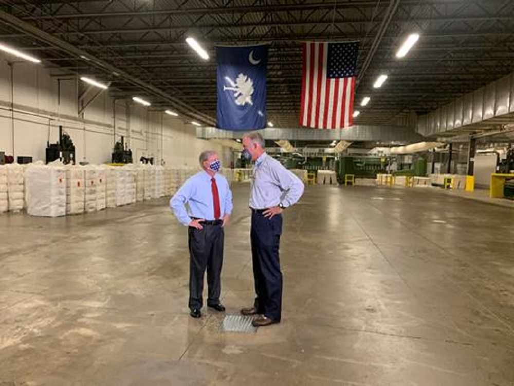 Sen. Lindsey Graham stressed the importance of securing a reliable domestic supply chain of PPE following a tour of Parkdale Mills.