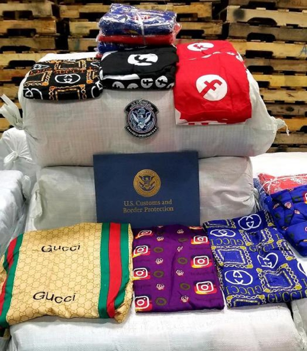 U.S. Customs and Border Protection seized 16,340 fake Gucci, Facebook and Instagram women's sleepwear items at the L.A./Long Beach Port.