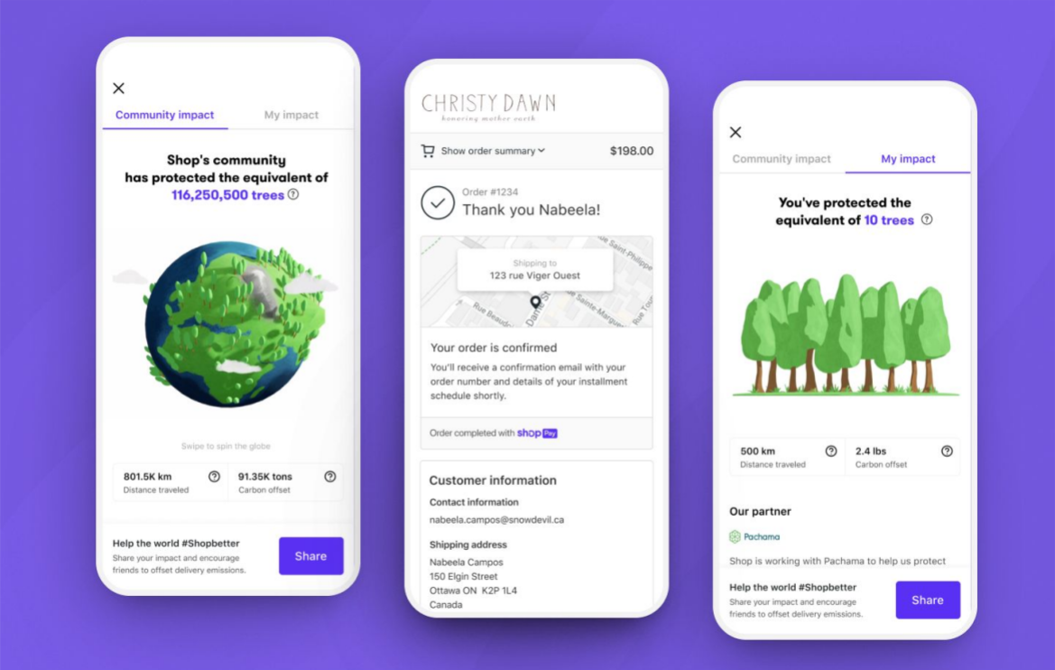 Shopify is dedicating its Shop app to improving the e-commerce firm's carbon footprint, offsetting 10,000 tons of carbon emissions.