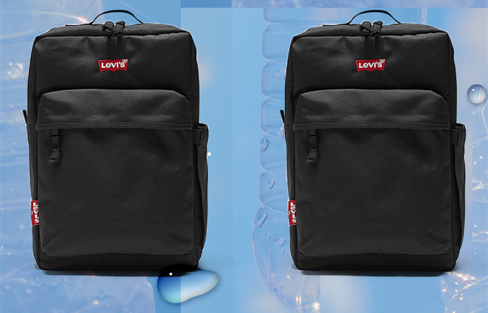 Denim brand Levi's revamped its L-Pack and L-Pack 2.0 backpack styles to use 100 percent recycled polyester sourced from plastic bottles.