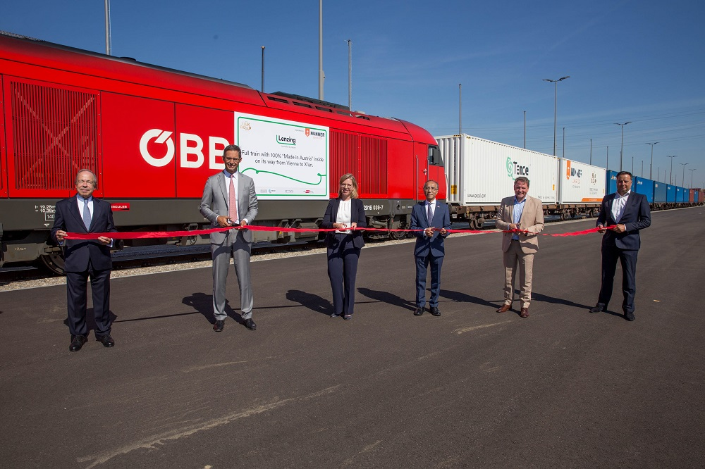 Lenzing has shipping goods fully produced in Austria directly to China by train for the first time.