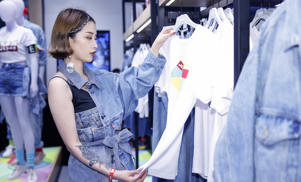 Heritage denim brand Levi's opened its latest NextGen experiential store in Shanghai, complete with a denim forest art installation.