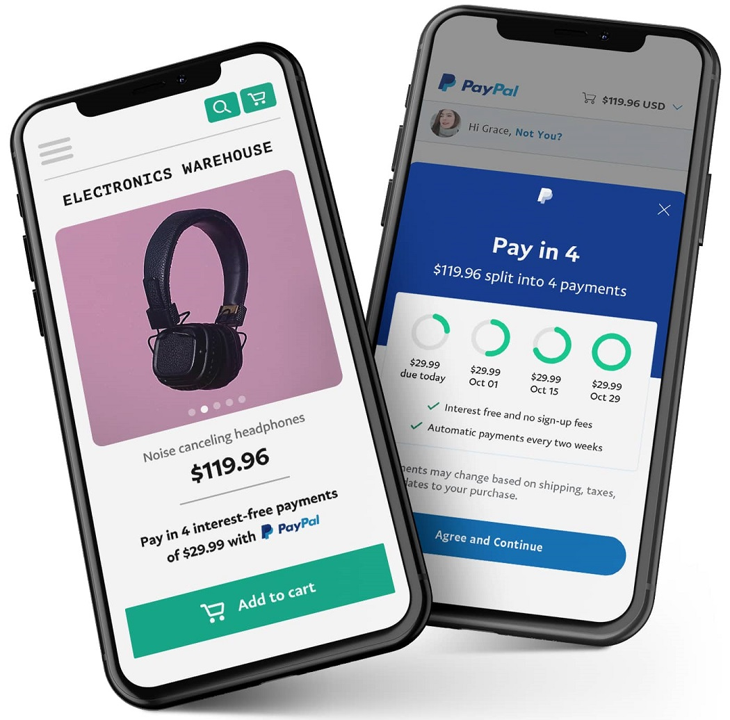 "PayPal's upcoming ""Pay in 4"" feature is designed to enable consumers to pay for a purchase over four pay-later interest-free installments."