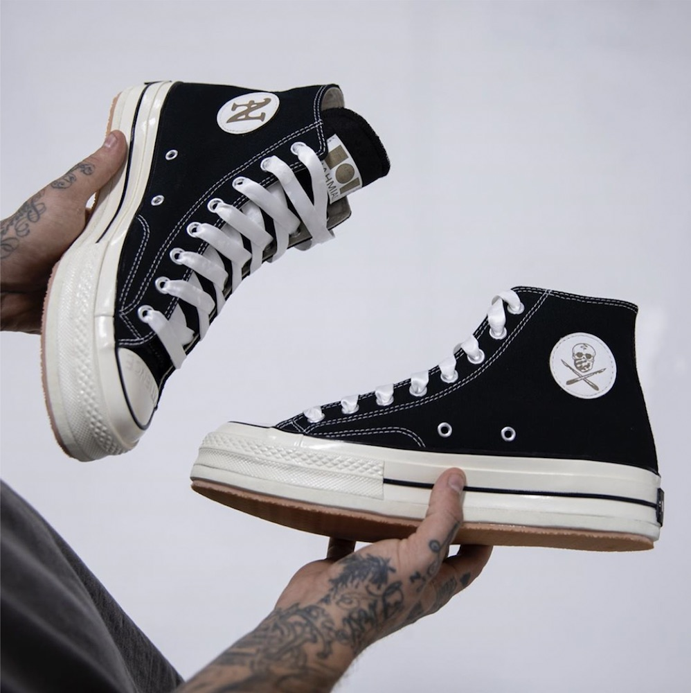 Sneaker artist Shoe Surgeon and apparel brand Nahmias dropped a custom, limited-edition Converse 70 sneaker with refined materials.