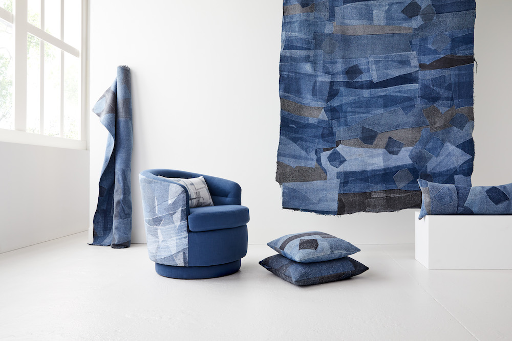 Sustainable fashion brand Eileen Fisher and home goods company West Elm are upcycling discarded jeans into home furnishings.