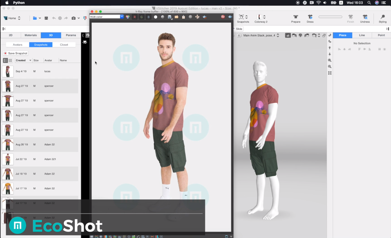 "EcoShot's realistic visualizations are made possible by the combination of VStitcher's garment simulation capabilities and Metail's ""Scanatars."" The Scanatars are digitized versions of human models, created using 3D body scans, photography and computer vision algorithms."
