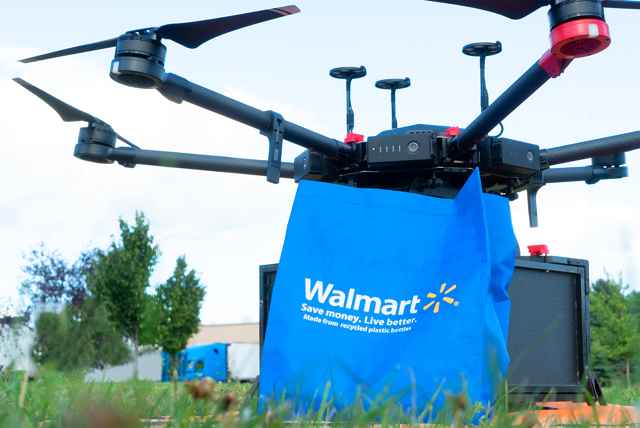 Walmart will deliver select grocery and household essential items in Fayetteville, N.C., using automated drones from Flytrex.