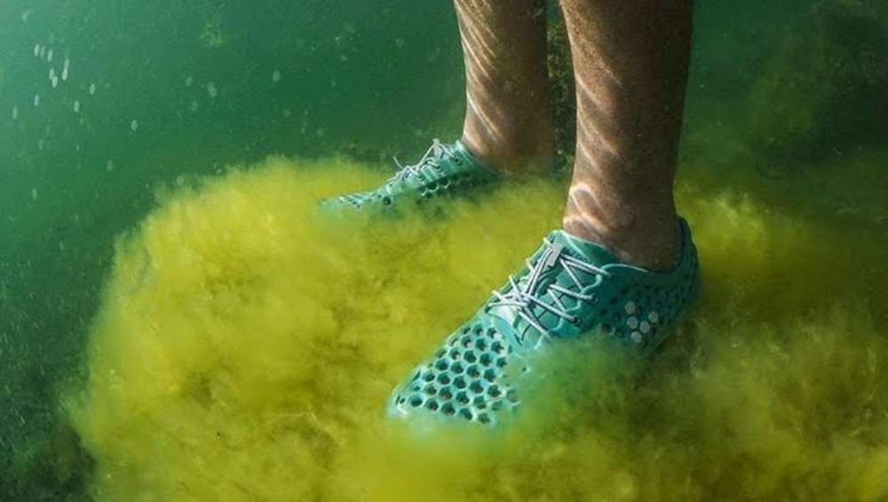 A Vivobarefoot style made with Bloom's sustainable algae foam.