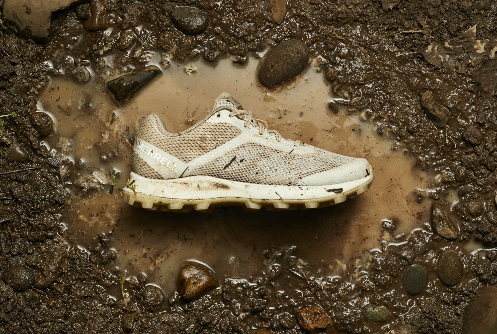 Merrell's Undyed Collection is made with partially recycled inputs and natural rubber.