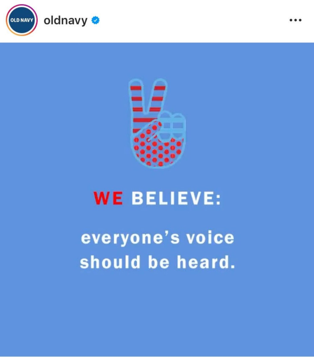 Fashion brands including Old Navy, Tory Burch and Nike commit to ensure that employees participate in the voting process in November.