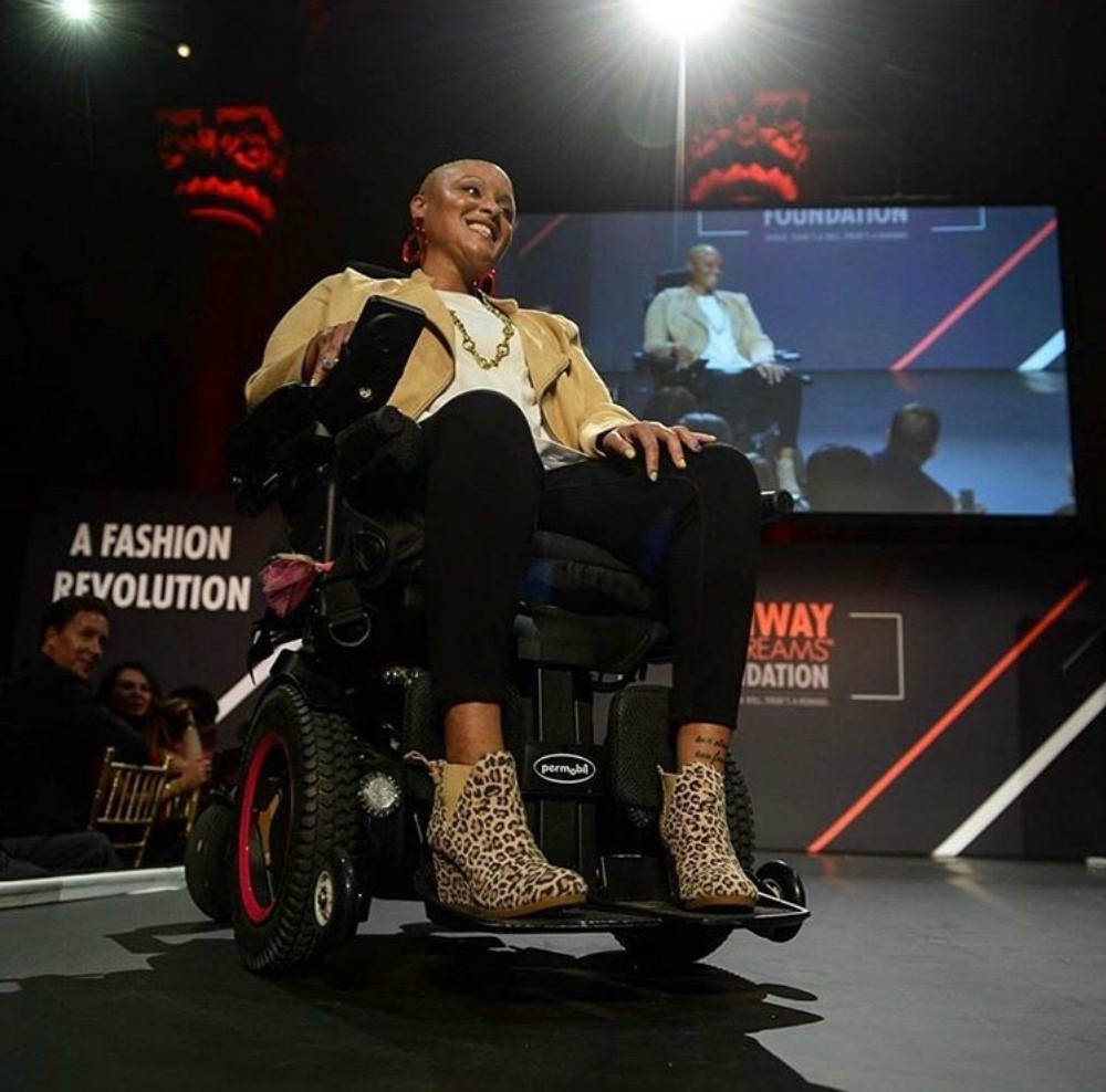 Keisha Greaves, founder of adaptive apparel brand Girls Chronically Rock, at the Runway of Dreams fashion show in 2019.